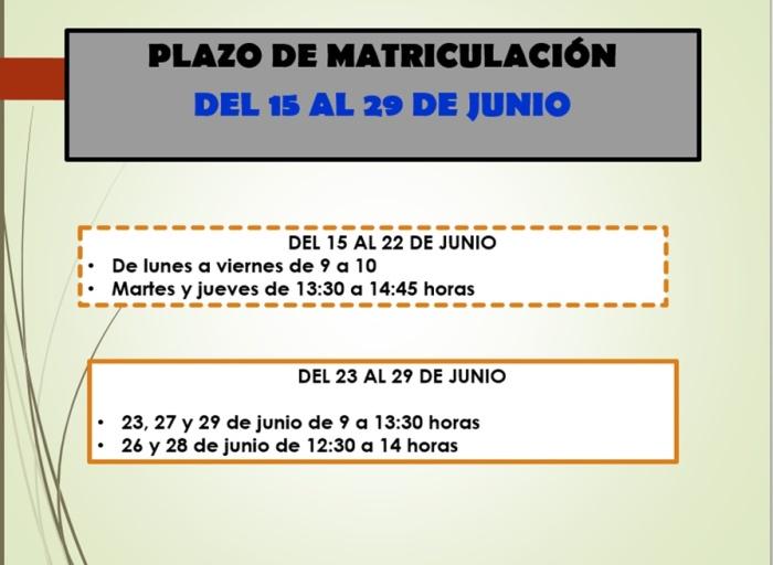 horario matrícula